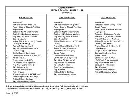 supply list families grandview school district