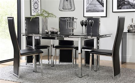 space chrome black glass extending dining table with 4