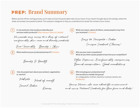 brand summary template fuze branding brainstorm worksheet tips for naming
