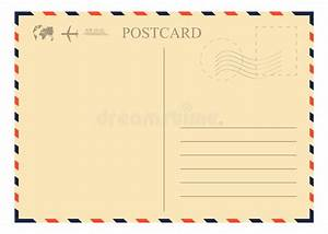 Vintage Postcard Template. Retro Airmail Envelope With ...