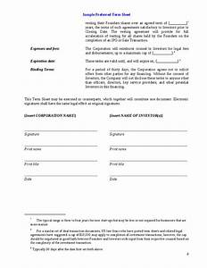 best photos of employee key agreement template contract With investor term sheet template