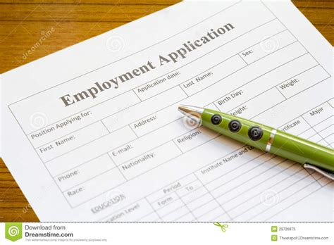 Lying On Employment Application employment application royalty free stock photo image