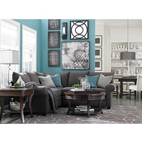 grey and turquoise living room alex sectional sofa by bassett furniture bassett