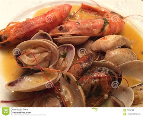 cuisine gambas spain food stock photo image of almejas food