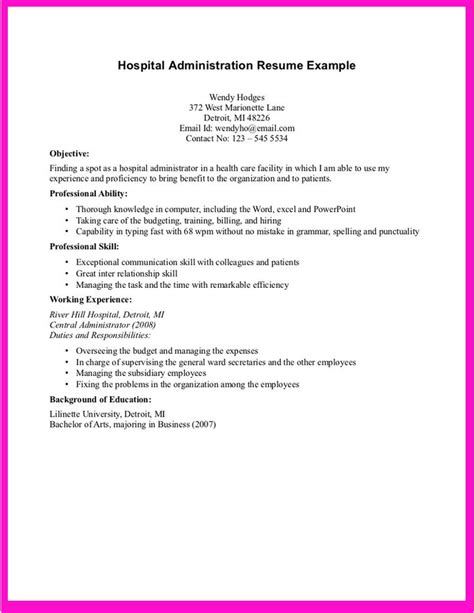 High Impact Resume Phrases by Exle For Hospital Administration Resume Http
