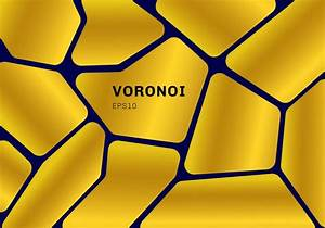 Abstract Gold Voronoi Diagram On Dark Blue Background