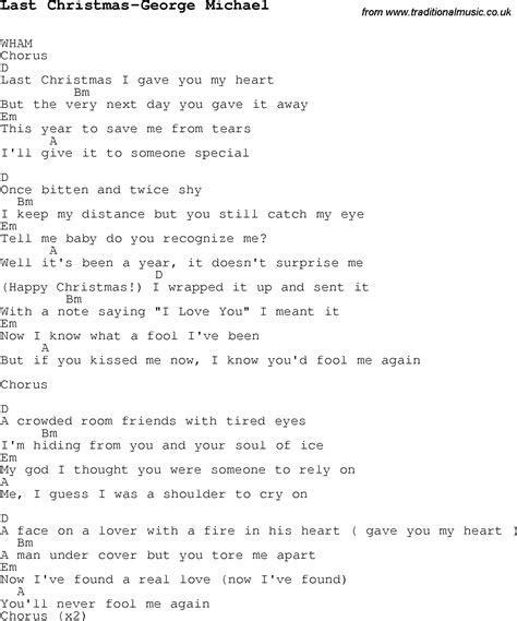 wham lyrics christmas songs and carols lyrics with chords for guitar