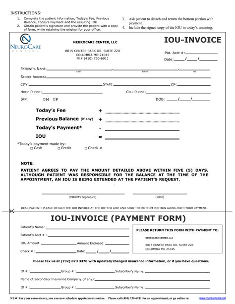 iou form template invitation templates iou form