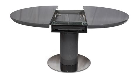 Rounded rectangular extendable exterior dining table: Merlin Grey Gloss Round Extendable Dining Table 120cm