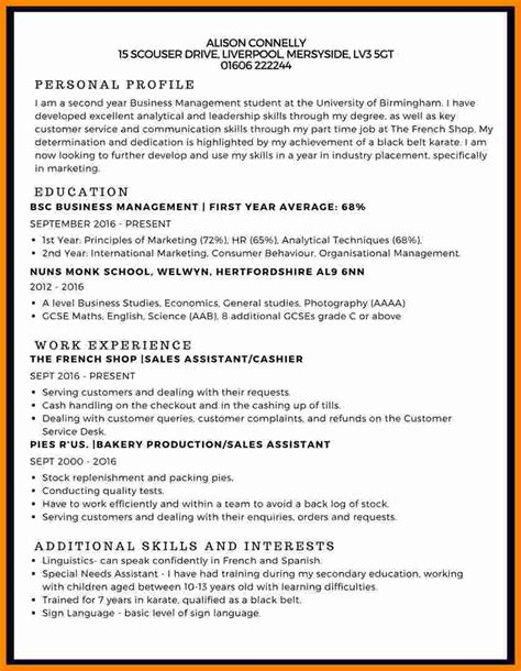 curriculum vitae english  student theorynpractice