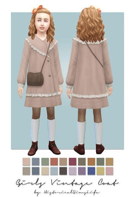 Ts4 Girls Vintage Coat Single Colored History Lovers