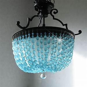 Sea glass chandelier semi flush mount coastal decor beach