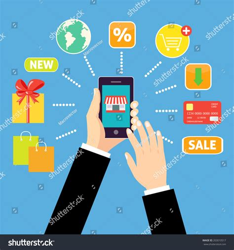 shopping concept man holding smartphone stock