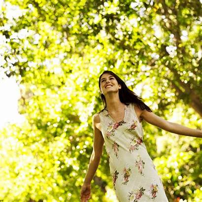 Woman Young Nature Arms Stretched Standing Living