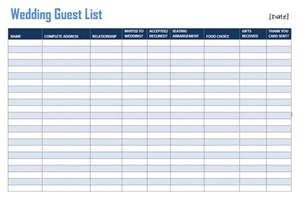 wedding guest list wedding guest list template sle format