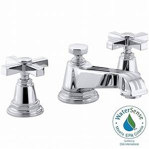 kohler pinstripe pure 8 in widespread 2 handle low arc With water saving bathroom faucets
