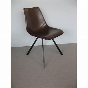 Chaise Vintage Cuir : chaise alecia vintage en simili cuir marron et pied en m tal ~ Teatrodelosmanantiales.com Idées de Décoration