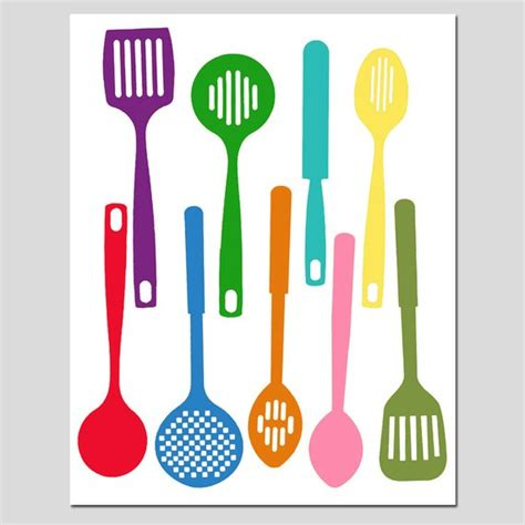 colorful kitchen utensils kitchen utensils spatula collection 11x14 silhouette print 2356