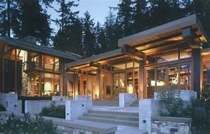 Beautiful, House, Of, Wood, Stone, And, Steel, On, Bainbridge, Island