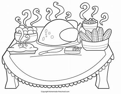 Turkey Dinner Drawing Thanksgiving Coloring Pages Drawings