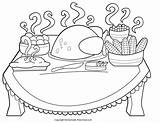Turkey Dinner Drawing Thanksgiving Coloring Pages Drawings Paintingvalley sketch template