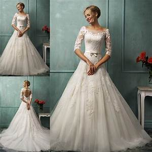 new boat neck a line 3 4 sleeve wedding dress lace sexy With 3 4 sleeve wedding dress