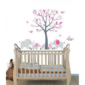pink jungle tree wall art for nursery with elephant wall