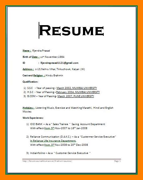 Simple Resume Format by Simple Resume Format In Word Bravebtr