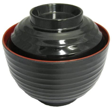 japanese miso soup bowl  lid red black