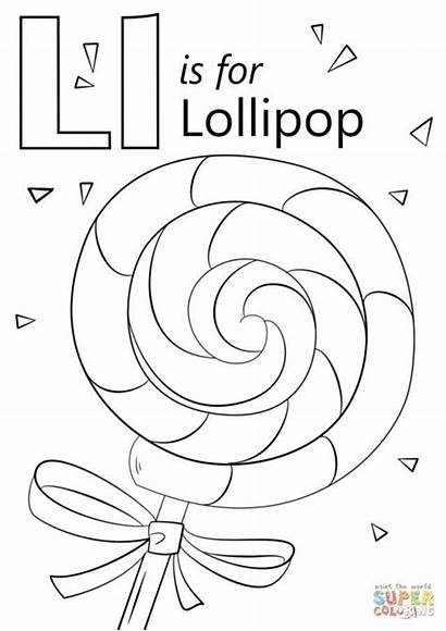 Letter Coloring Lollipop Preschool Pages Printable Drawing