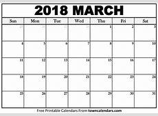Printable March 2018 Calendar towncalendarscom