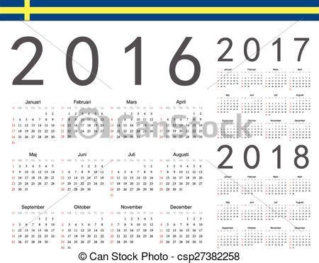 Set of swedish 2016 2017 2018 year vector calendars