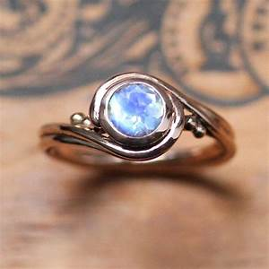 Rose Gold Moonstone Ring - Unique Engagement Ring With ...
