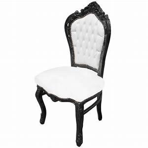 Chaise Tissu Noir : chaise de style baroque rococo tissu simili cuir blanc et ~ Teatrodelosmanantiales.com Idées de Décoration