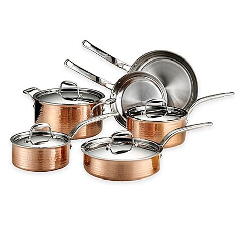 lagostina martellata tri ply copper  piece cookware set  open stock bed bath