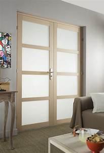 Porte Coulissante Vitree : une double porte pour un salon lumineux leroy merlin ~ Dode.kayakingforconservation.com Idées de Décoration