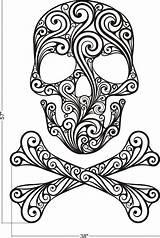 Skull Sugar Rock Coloring Pages Skulls Roll Stencil Tattoo Wall Crossbones Adult Printable Halloween Decal Calaveras Adults Colouring Mandala Girly sketch template