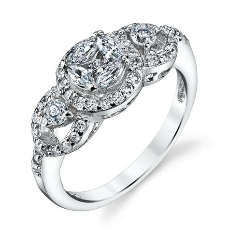 sterling silver 3 stone cluster cubic zirconia engagement wedding ring bridal ebay