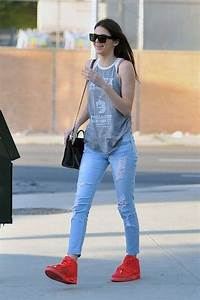 Kendall Jenner Casual Style  Red Sneakers | Sport Chic | Pinterest | Nano bag Red sneakers and ...