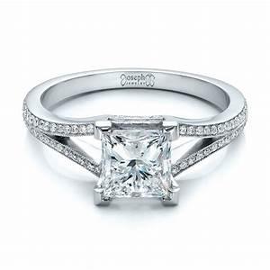 Custom princess cut diamond and split shank engagement for Split shank engagement ring with wedding band