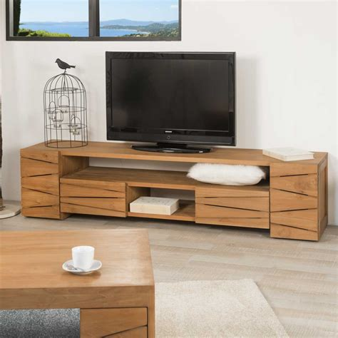Meuble En Teck Meuble Tv Teck Meuble Tv Bois Naturel Rectangle S 233 R 233 Nit 233 170 X 50 Cm