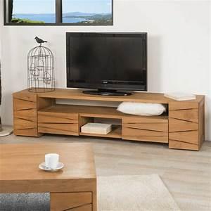 Meuble Tele En Bois : meuble tv teck meuble tv bois naturel rectangle ~ Melissatoandfro.com Idées de Décoration