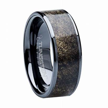 Mens Bands Rings Unique Wood Tungsten Inlay