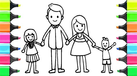 How to Draw Happy Family for KIDS Learn Coloring Page