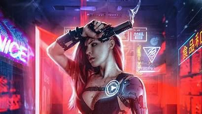 Cyberpunk 4k Wallpapers Gun Parede Papel Futuristic
