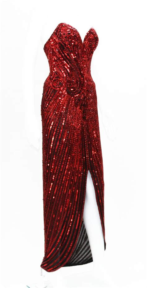 bob mackie red fully beaded dress gown  stdibs