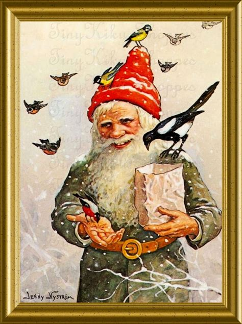 handsome gnome feeding hungry birds vintage