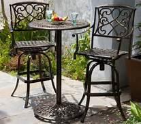 Patio Furniture Pub Table Sets by Santa Maria Cast Aluminum Brown 3 Piece Bistro Bar Set Patio Table