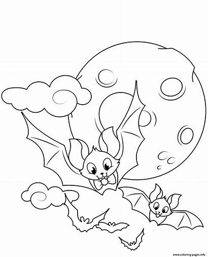 Coloring Halloween Pages Bats Flying Printable