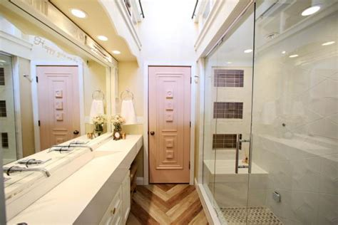 contemporary double vanity bathroom with glass shower hgtv